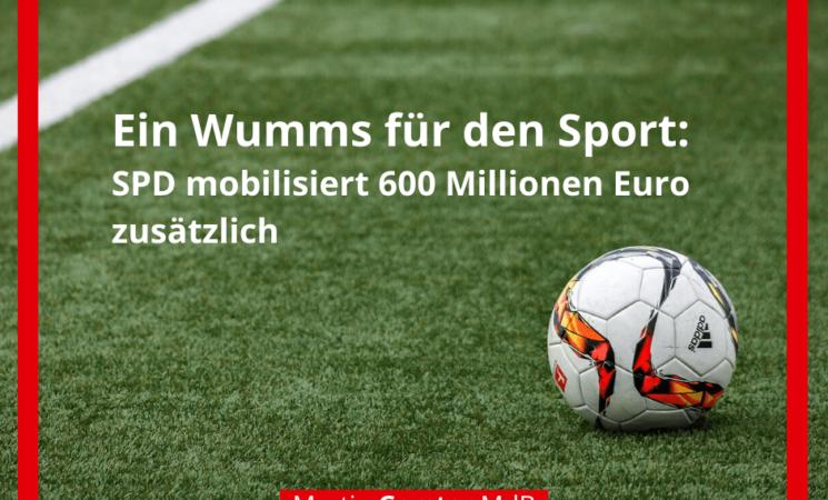 Ein Wumms für den Sport: SPD mobilisiert 600 Millionen Euro zusätzlich