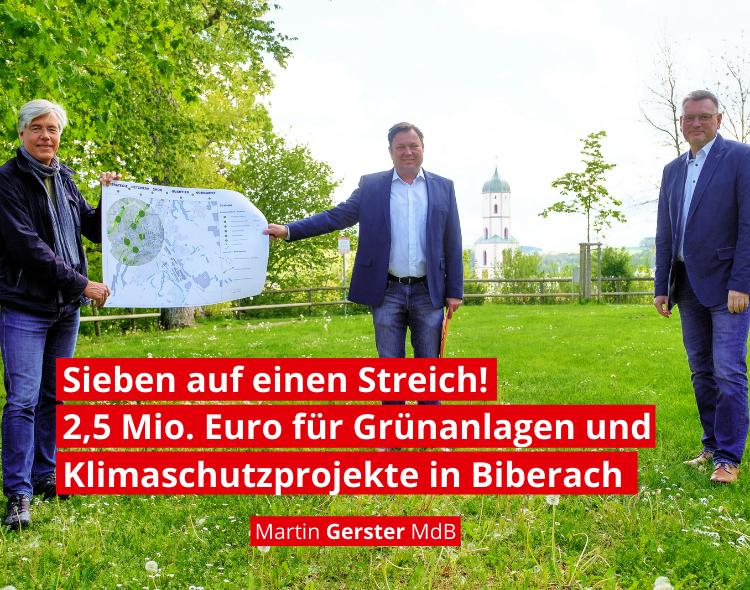 Sieben auf einen Streich: Bund fördert Grünanlagen und Klimaschutzprojekte in der Stadt Biberach mit über 2,5 Millionen Euro