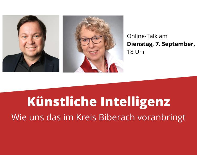 """4. Biberacher Gespräche: """"Künstliche Intelligenz – wie uns das im Kreis Biberach voranbringt"""" mit KI-Wissenschaftlerin Prof. Dr. Susanne Biundo-Stephan"""